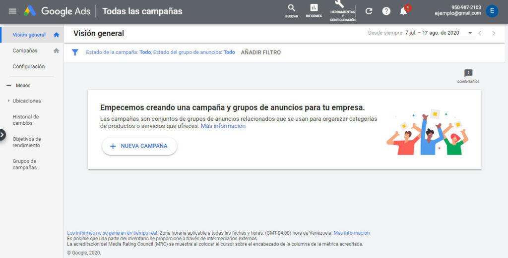 Crear su primera campaña en Google Ads
